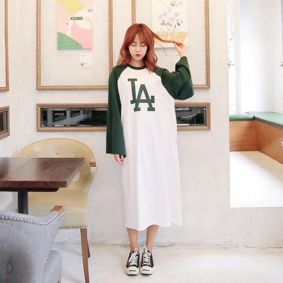 クルリクエンミLAナグランワンピース 綿ワンピース/ 韓国ファッション