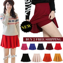 2016 Colorful Pleated Skirt/Candy color/Short Skirt/Culottes pants/skirt with shorts
