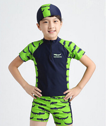 The new boy child child body sunscreen in hot swimwear swimsuit boxer新款男童儿童分体泳衣平角防晒中大童温泉泳装