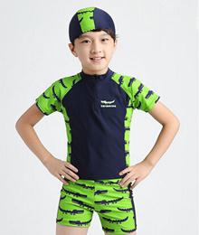 The new boy child child body sunscreen in hot swimwear swimsuit boxer新款男童儿童分体泳衣平角防晒中大童温泉泳装
