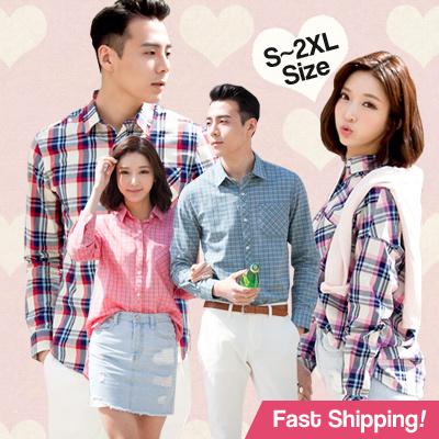 4b4e8e57fc9 Qoo10 - New arrival ☆COUPLE SHIRTS☆ LOVELY KOR check denim shirts ...