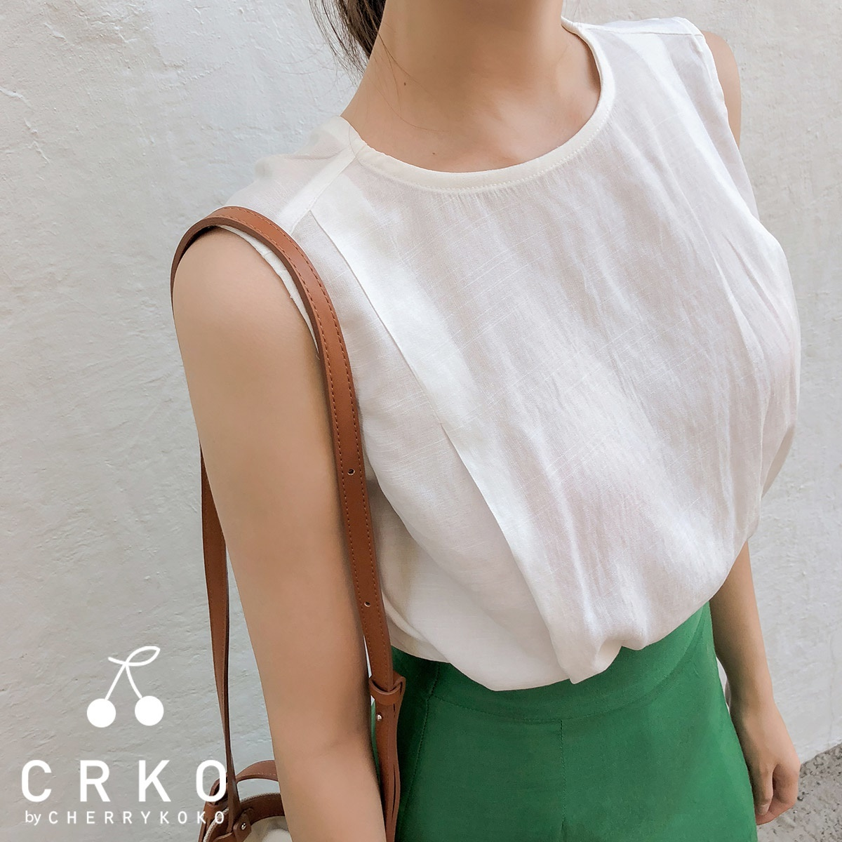 [CHERRYKOKO官方旗艦店] 圓領無袖襯衫 / second lovering blouse
