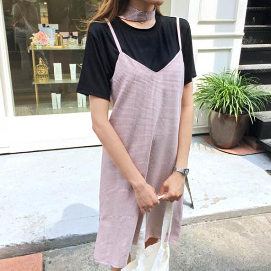 あっかんべーショップチョーカーワンピースティーSET 塔/袖なしのワンピース/ 韓国ファッション