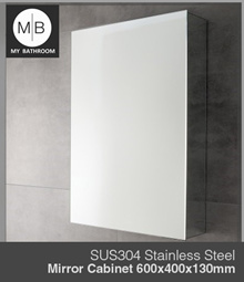 SUS304 Stainless Steel Bathroom WALL Mirror Cabinet with easy open door size 600x400x130mm