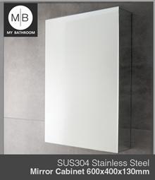 SUS304 Stainless Steel Bathroom WALL Mirror Cabinet with easy open door size 600x400x130mm