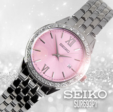 Seiko Quartz 30m Pink Dial Ladies Casual Watch SUR693P1 SUR693P SUR693