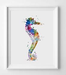 Seahorse Watercolor  Art Poster Seahorse Wall Art Horse Home Decor Gift Nursery Sea Horse Watercolor
