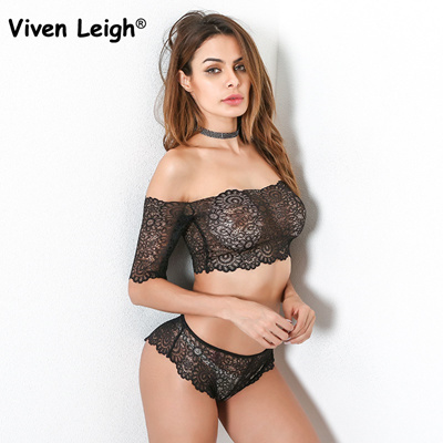 68e11f23b14 Viven Leigh Ultra Thin Black Lace Strapless Bra Set Sexy Women Hollow Out  Flower Bra And