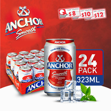 [Single/Twin] Anchor Smooth Pilsener Beer 24 Cans x 323ml