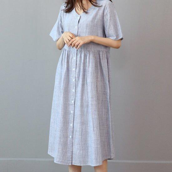 ビナインデル藩ボタンワンピース 綿ワンピース/ 韓国ファッション