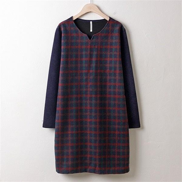 子供ウーマンウールチェック配色ワンピースMN1711ビックサイズnew プリントワンピース/ワンピース/韓国ファッション