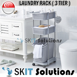 Kitchen Laundry Trolley Cart Toys Clothes Rack Basket Multipurpose Storage Organizer 3 Tier