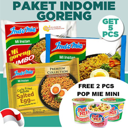 Paket 5 Pcs Indomie Salted Egg dan Mi Goreng Jumbo Free 2 Pcs Pop Mie Mini