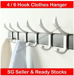 Aluminium Door Wall Hook Bathroom Toilet Clothes Hanger Rack Kitchen Towel Shelf 4 or 6 Adjustable