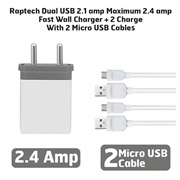Raptech Dual USB 2.1 amp Maximum 2.4 amp Fast Wall Charger + 2 Charge With 2 Micro USB Cables White-