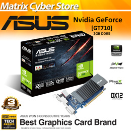 ASUS Nvidia GeForce GT710 2GB DDR5 Low Profile with passive 0db efficient cooling
