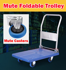 【Mute Trolley】Metal Foldable Trolley Hand Truck150/300kg Load- Compact/store transporting goo