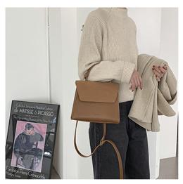 新款复古极简纯色翻盖手提女包时尚pu拼接磨砂单肩包