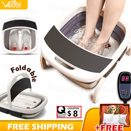 Fathers Day Gift Electric Foot Massage Foldable Automatic Heat Foot Tub Massager Relieve Fatigue