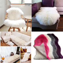 Home Sofa Carpet Sheepskin Rug Faux Fur Fake Wool Plain Soft Mat Hairy Washable