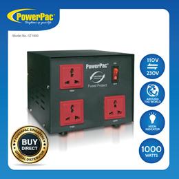 PowerPac Converter Transformer 1000W Heavy Duty Step Up/Down Voltage 110/220Voltage Regulator ST1000