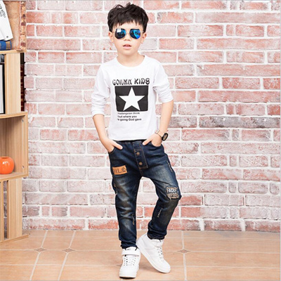 38733b9c332 Qoo10 - factory 2018 Children denim pants big boys slim jeans Boys ...