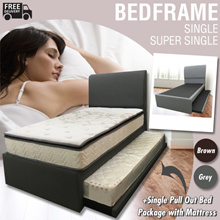 Single/Super Single Bed-frame + Single Pull Out Package with Mattress x 2 / Foam OR Spring Mattress
