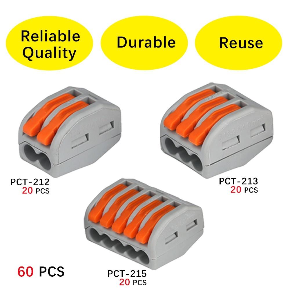 20pcs 5P Universal 20pcs 3P 60 PCS Wago type PCT-212 213 215 20pcs 2P