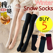 Winter Women Snow Socks Men Warm Thick Wool Sock Middle Leg Socks Over Knee Socks at Home