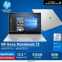 HP ENVY 13-ah0031TU Notebook( 8th Gen Intel i7-8550U 8GB 512GB PCIe)|Lightweight Laptop|Local Warraty
