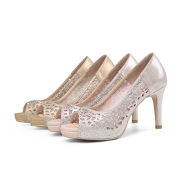 af86d2ec875 Summer hollow diamond fish mouth high heels female shallow mouth wedding  shoes