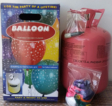 Disposable helium tank with balloons