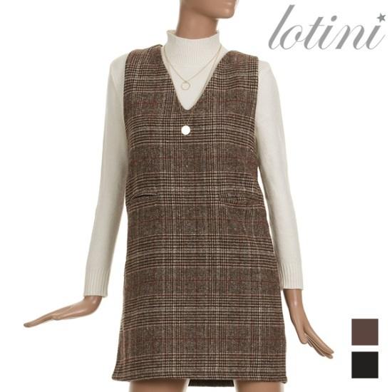 ロティニLOTINIチェックポインティング・ブイネクワンピースLTJOP03 面ワンピース/ 韓国ファッション