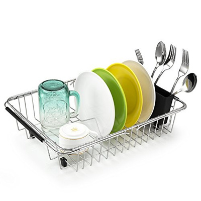 iPEGTOP Dish Drying Rack In Sink, On Counter, Or Expandable Over the Sink  Dish Drainer with Utens