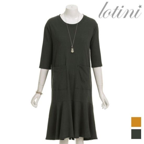 ロティニLOTINIフロントポケットの裾フリルのワンピースLTHOP08 面ワンピース/ 韓国ファッション