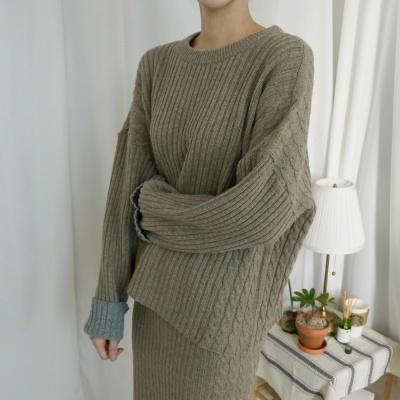 twotone Knit dress (3-COLORS)