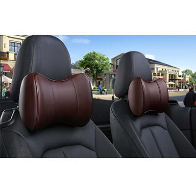 Black Fangfei Charming Bowknot Leather Neck Pillow Headrest Cushion for Car A Pair