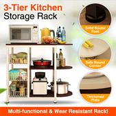 Kitchen Rack Storage Shelf Microwave Stand 3-Tier+3-Tier Table for Spice Rack Organizer Workstation