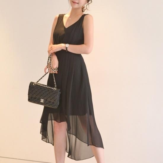 悪女日記】ランドシフォンワンピース シフォン/レースのワンピース/ 韓国ファッション