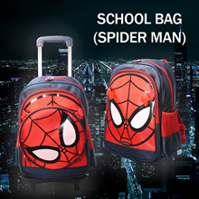 Case Valker Cartoon Kid 6 Wheels School Bag with Trolley FOC Sling Free Spider Boy Sling Bag