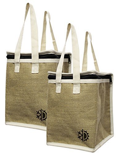 Earthwise Insulated Lunch Bag Tote Eco Friendly Jute Lunch Bag w/ Zippered  Top Closure ( Set of 2 )