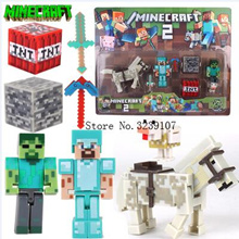 online NEW Arrival Minecraft Toys A suit of styles Sword Pickaxe Stone Bed Box Model Toys Action Fig