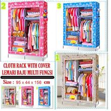 Rak Lemari Baju Multi Fungsi / MULTIFUNCTION CLOTH RACK WITH DUST COVER 94.5x 43.5x156 cm
