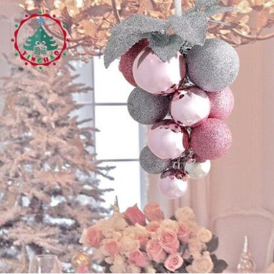 Silver Pink Grape Bunch Christmas Tree Decoration