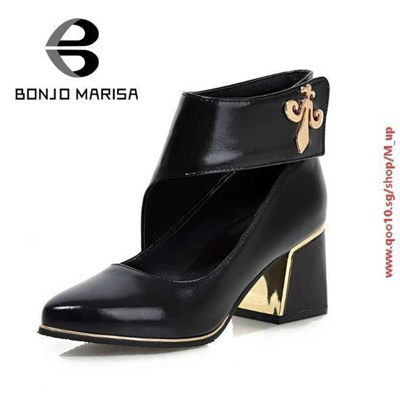 e44cd5a2e708 Fashion Concise Thick Med Heels Platform Pumps Dress Shoes For Women Vintage  Style Velcro Summer And