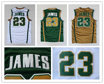 low priced 3ccbc c072c Double Stitched St. Vincent-St. Mary High School Irish #23 Lebron James  Green Basketball Jersey Rev 30 Sports Authentic Shirts