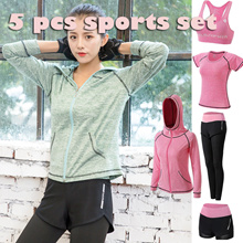 【Korea 】5 pcs Yoga Set / Sports bra / Running Attire Lowest price Runing set sports bra+pants+Tshit