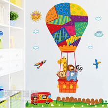 Removable wall sticker animal cartoon hot air balloon children s rooms bedroom decor stickers wall s