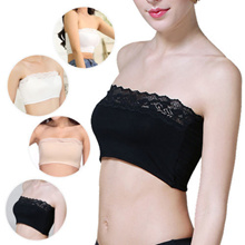Fashion Lady Women Bras Bandeaue Lace Strapless Boob Tube Top Girls Brassiere